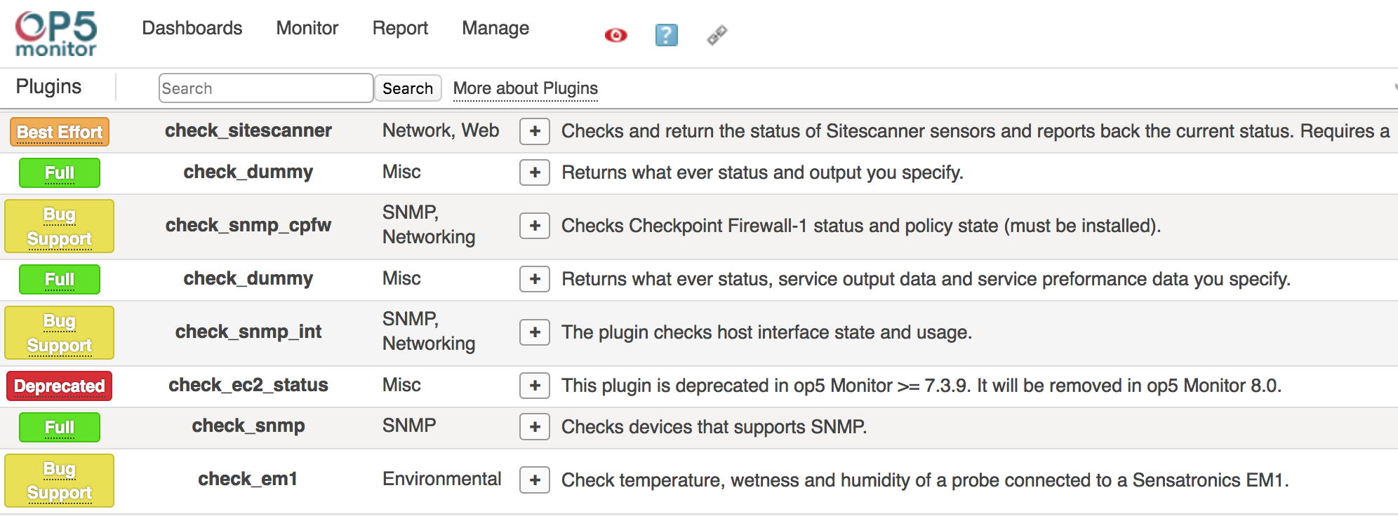 Plugins Support Status page